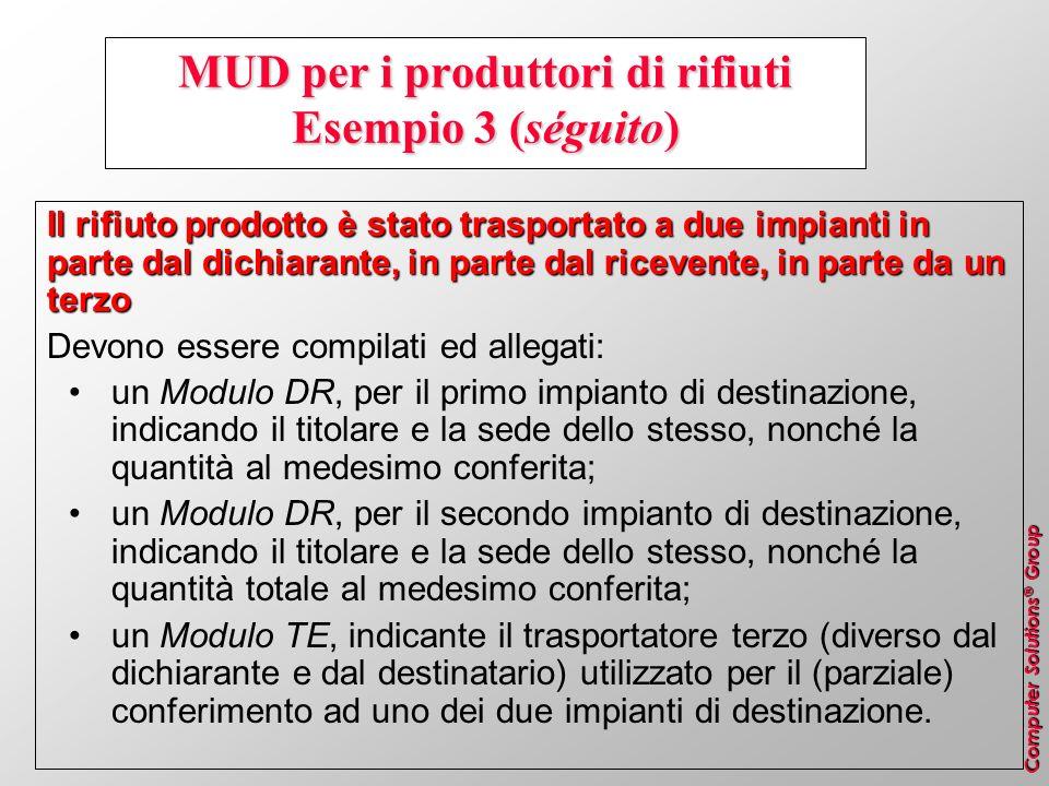 Computer Solutions ® Group MUD per i produttori di rifiuti Esempio 3 (séguito) Il rifiuto prodotto è stato trasportato a due impianti in parte dal dic