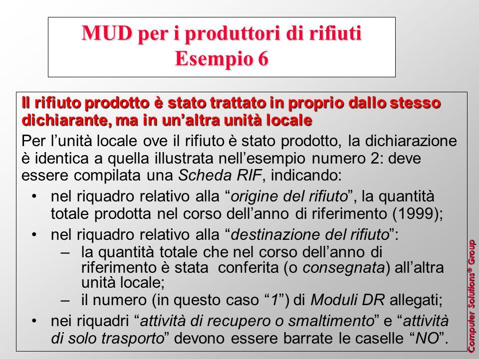 Computer Solutions ® Group MUD per i produttori di rifiuti Esempio 6 Il rifiuto prodotto è stato trattato in proprio dallo stesso dichiarante, ma in u