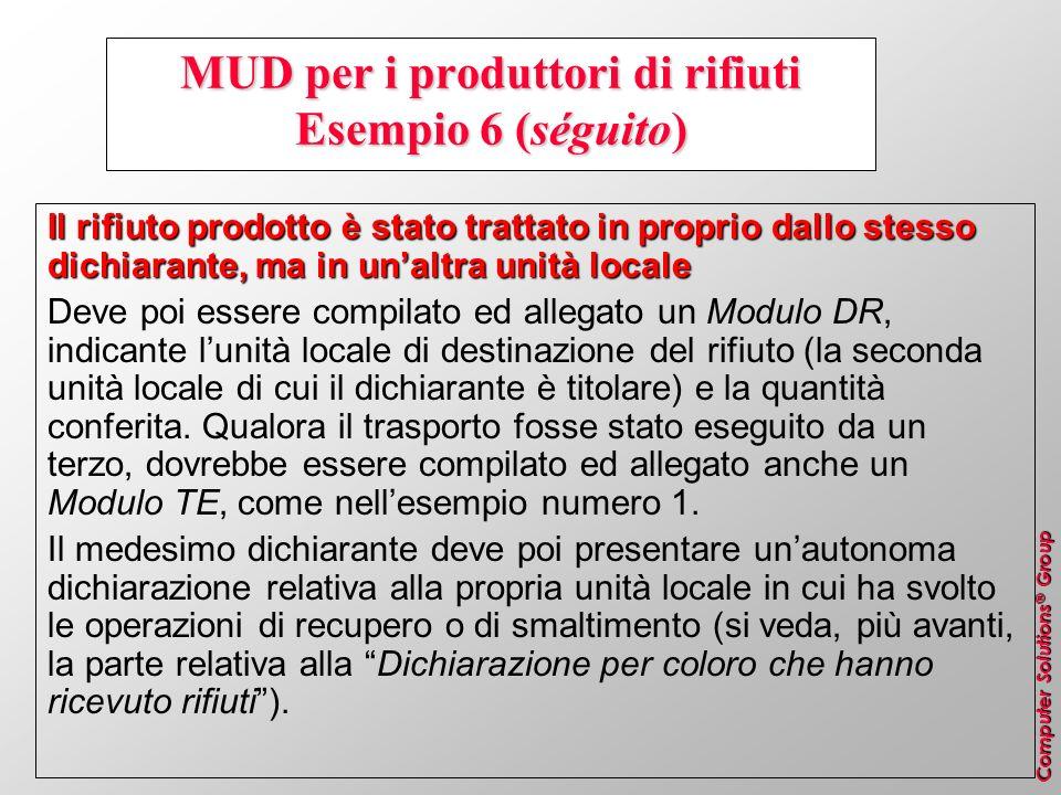 Computer Solutions ® Group MUD per i produttori di rifiuti Esempio 6 (séguito) Il rifiuto prodotto è stato trattato in proprio dallo stesso dichiarant