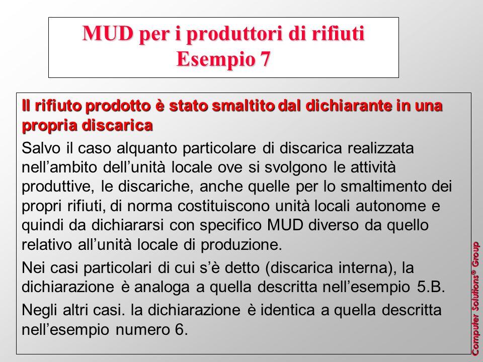 Computer Solutions ® Group MUD per i produttori di rifiuti Esempio 7 Il rifiuto prodotto è stato smaltito dal dichiarante in una propria discarica Sal