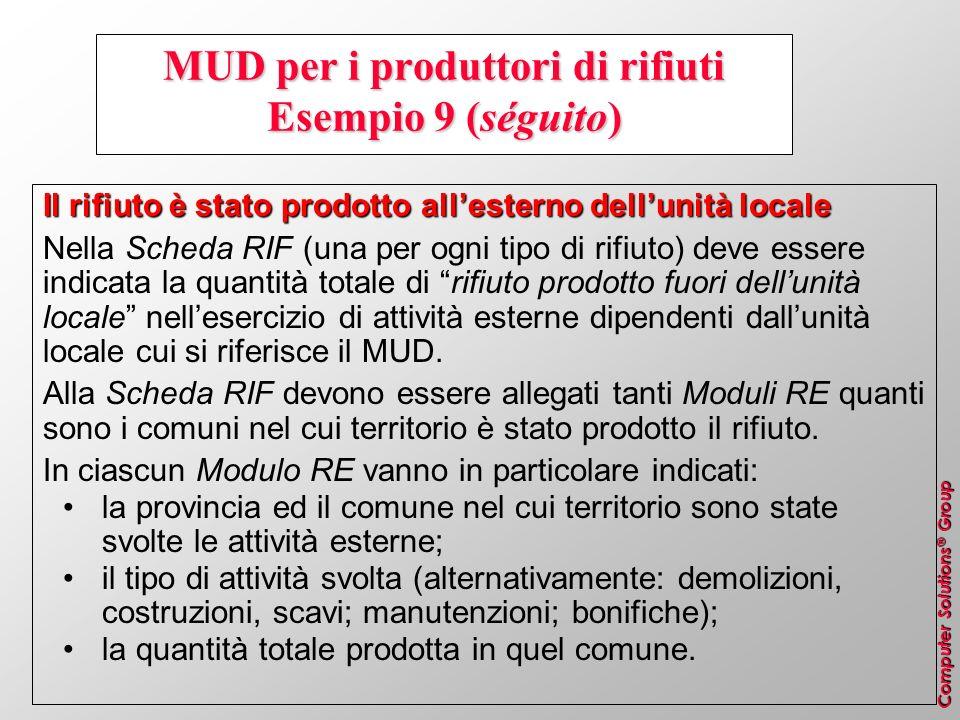 Computer Solutions ® Group MUD per i produttori di rifiuti Esempio 9 (séguito) Il rifiuto è stato prodotto allesterno dellunità locale Nella Scheda RI