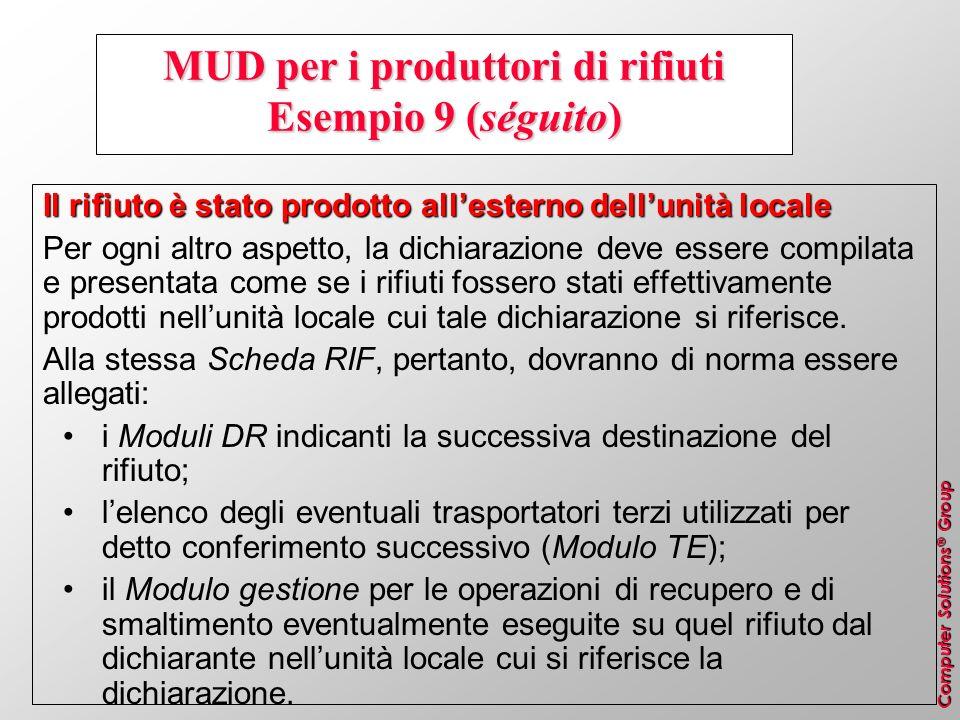 Computer Solutions ® Group MUD per i produttori di rifiuti Esempio 9 (séguito) Il rifiuto è stato prodotto allesterno dellunità locale Per ogni altro