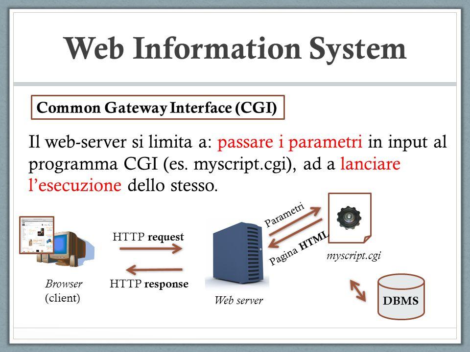Web Information System Il web-server si limita a: passare i parametri in input al programma CGI (es. myscript.cgi), ad a lanciare lesecuzione dello st