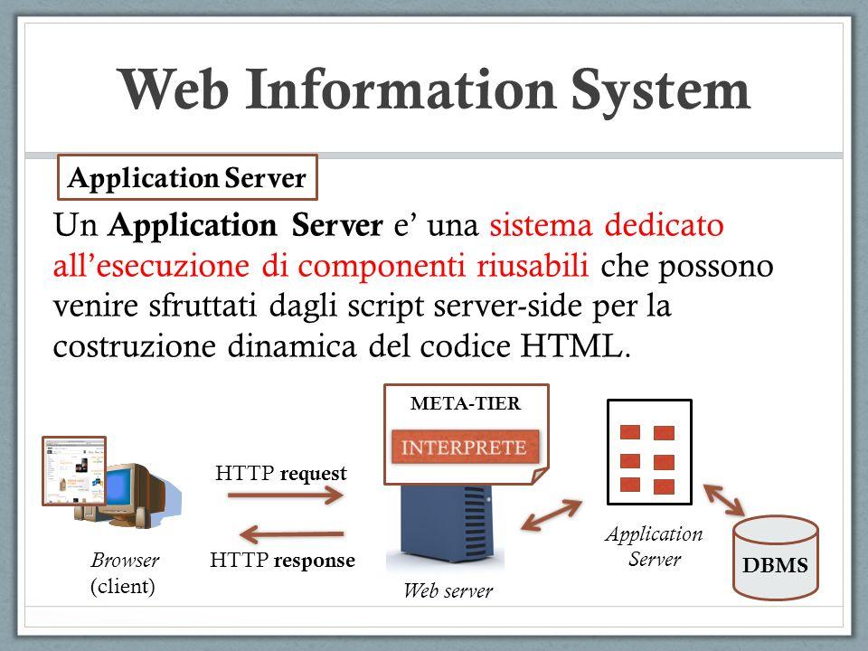 Web Information System Un Application Server e una sistema dedicato allesecuzione di componenti riusabili che possono venire sfruttati dagli script se