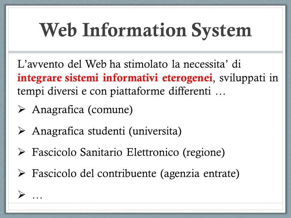 Web Information System Lavvento del Web ha stimolato la necessita di integrare sistemi informativi eterogenei, sviluppati in tempi diversi e con piatt