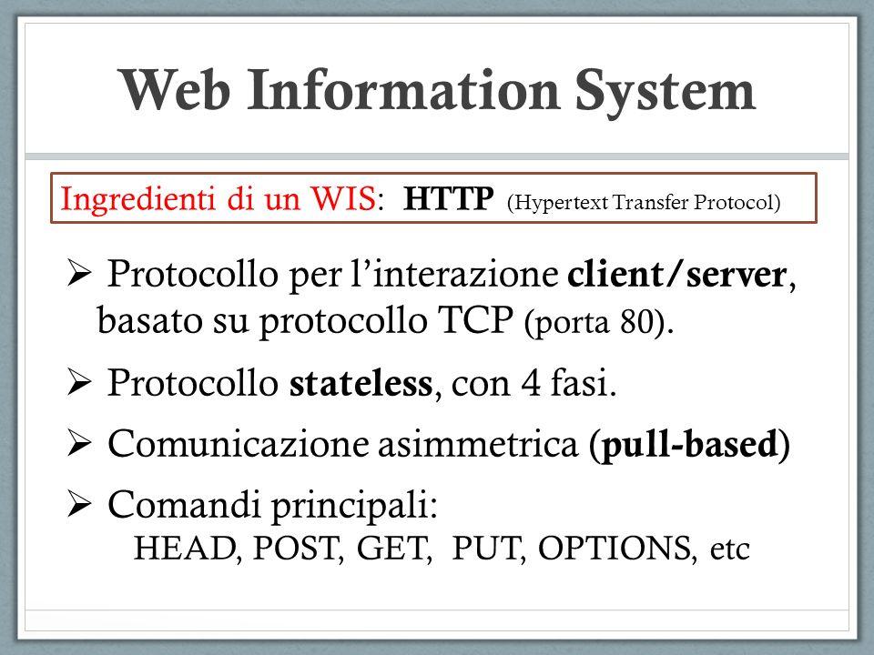 Web Information System Ingredienti di un WIS: HTTP (Hypertext Transfer Protocol) Protocollo per linterazione client/server, basato su protocollo TCP (