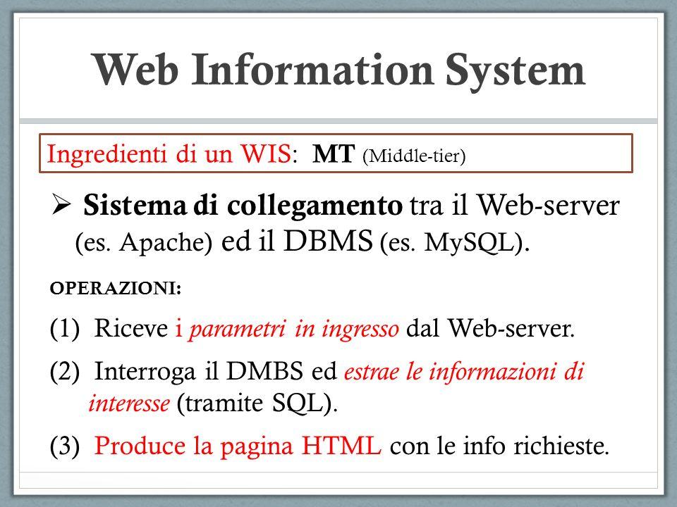 Web Information System Ingredienti di un WIS: MT (Middle-tier) Sistema di collegamento tra il Web-server (es.