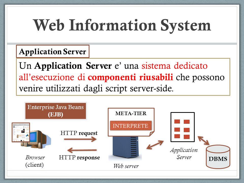 Web Information System Un Application Server e una sistema dedicato allesecuzione di componenti riusabili che possono venire utilizzati dagli script s
