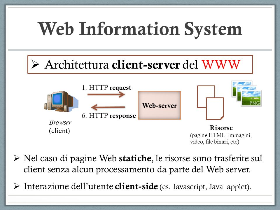 Web Information System Ingredienti di un WIS: MT (Middle-tier) Sistema di collegamento tra il Web-server (es.