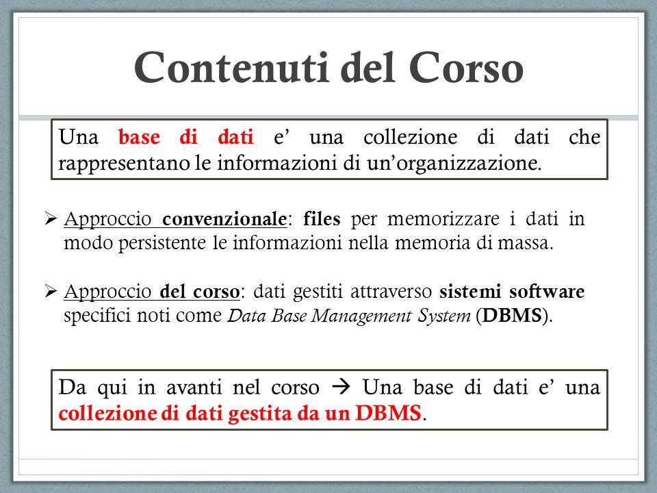 Contenuti del Corso Approccio convenzionale : files per memorizzare i dati in modo persistente le informazioni nella memoria di massa. Approccio del c