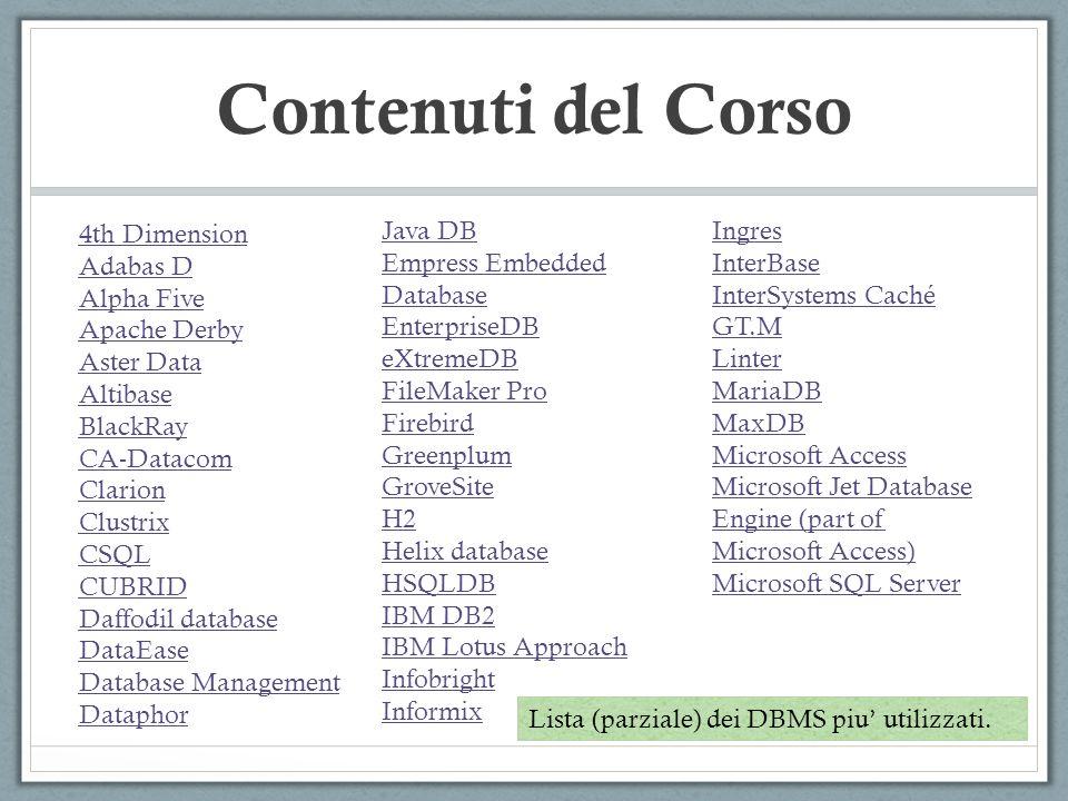 Contenuti del Corso 4th Dimension Adabas D Alpha Five Apache Derby Aster Data Altibase BlackRay CA-Datacom Clarion Clustrix CSQL CUBRID Daffodil datab