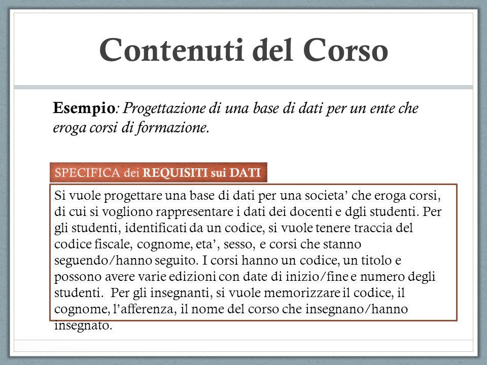Contenuti del Corso Esempio : Progettazione di una base di dati per un ente che eroga corsi di formazione.