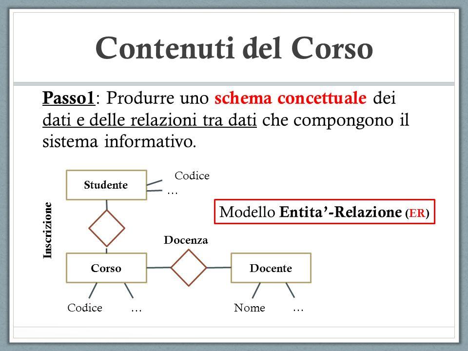 Contenuti del Corso Passo1 : Produrre uno schema concettuale dei dati e delle relazioni tra dati che compongono il sistema informativo.