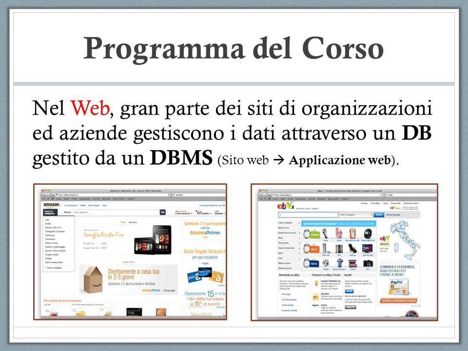 Programma del Corso Nel Web, gran parte dei siti di organizzazioni ed aziende gestiscono i dati attraverso un DB gestito da un DBMS (Sito web Applicazione web ).