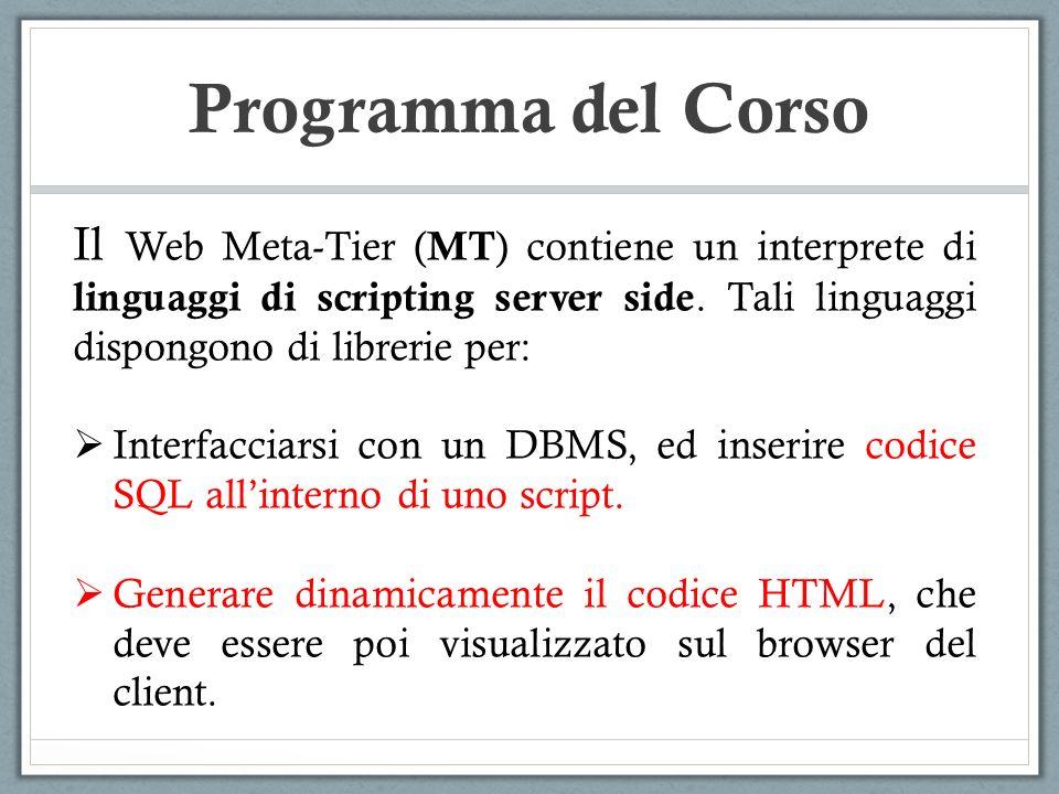 Programma del Corso Il Web Meta-Tier ( MT ) contiene un interprete di linguaggi di scripting server side. Tali linguaggi dispongono di librerie per: I