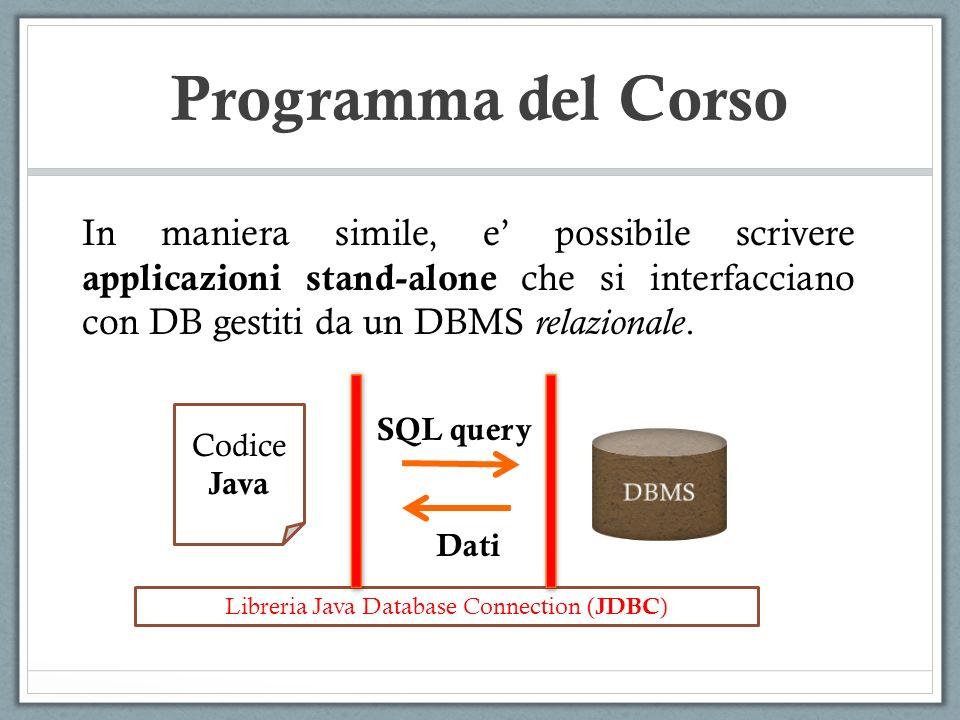 Programma del Corso In maniera simile, e possibile scrivere applicazioni stand-alone che si interfacciano con DB gestiti da un DBMS relazionale. Codic
