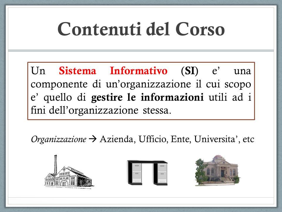 Contenuti del Corso Un Sistema Informativo ( SI ) e una componente di unorganizzazione il cui scopo e quello di gestire le informazioni utili ad i fini dellorganizzazione stessa.