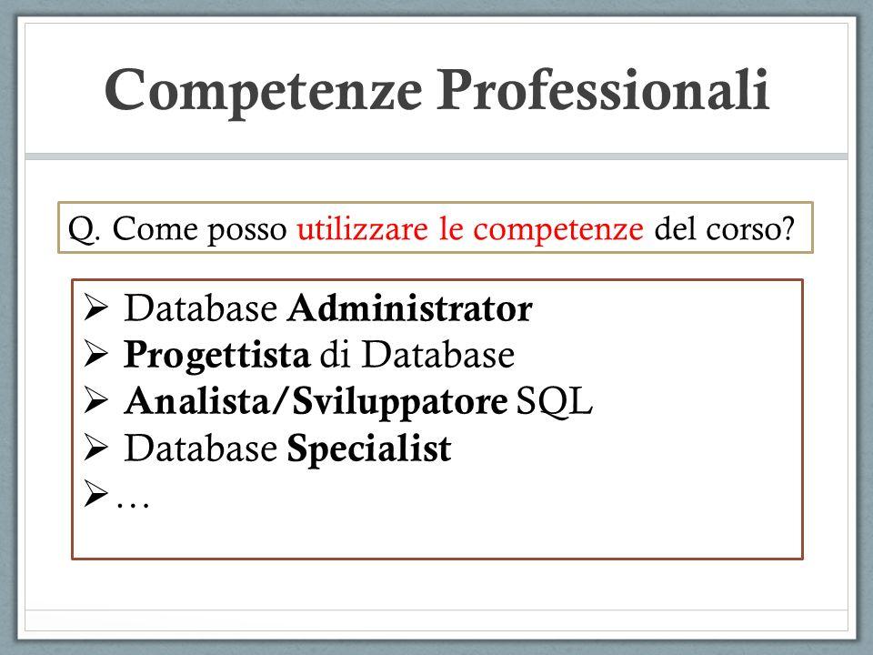 Competenze Professionali Database Administrator Progettista di Database Analista/Sviluppatore SQL Database Specialist … Q. Come posso utilizzare le co