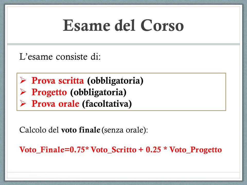 Esame del Corso Prova scritta (obbligatoria) Progetto (obbligatoria) Prova orale (facoltativa) Lesame consiste di: Calcolo del voto finale (senza orale): Voto_Finale=0.75* Voto_Scritto + 0.25 * Voto_Progetto