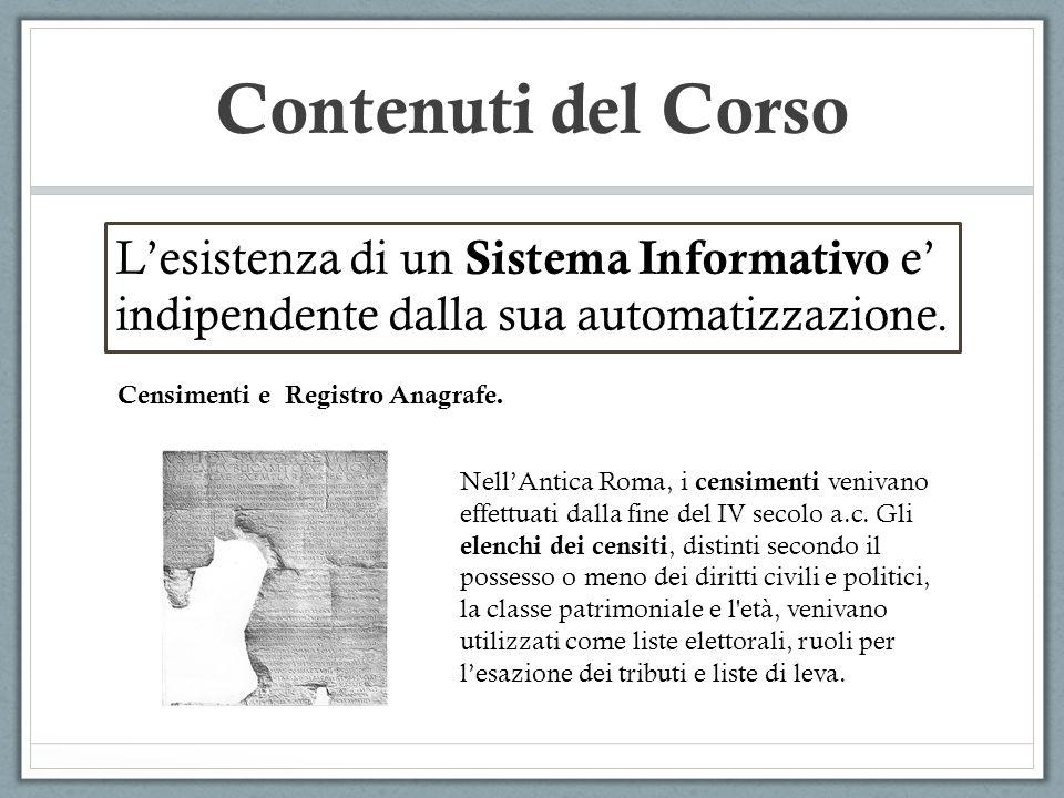 Contenuti del Corso Lesistenza di un Sistema Informativo e indipendente dalla sua automatizzazione. Censimenti e Registro Anagrafe. NellAntica Roma, i