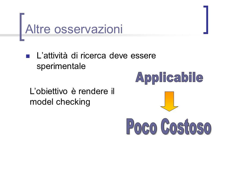 Altre osservazioni Lattività di ricerca deve essere sperimentale Lobiettivo è rendere il model checking