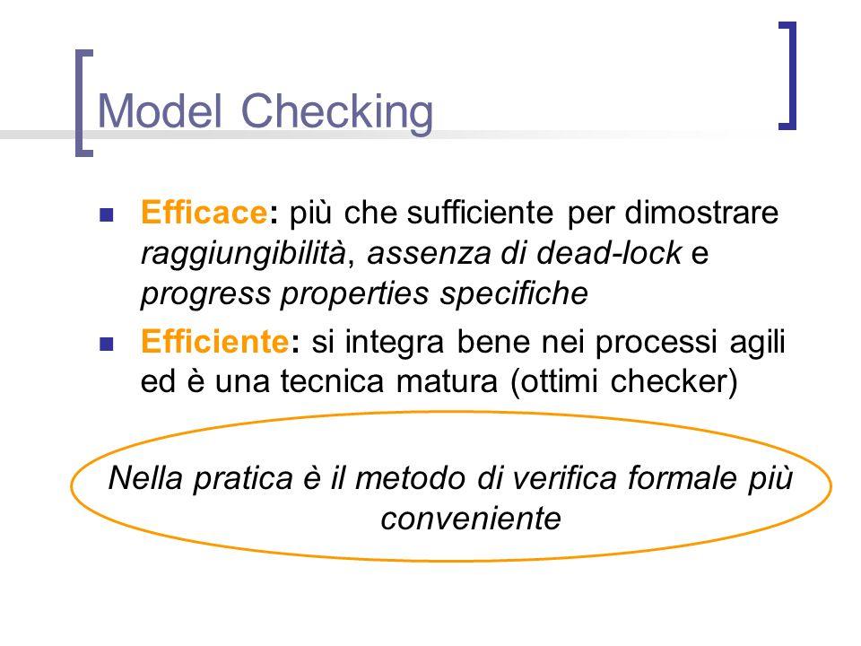 Model Checking Efficace: più che sufficiente per dimostrare raggiungibilità, assenza di dead-lock e progress properties specifiche Efficiente: si inte
