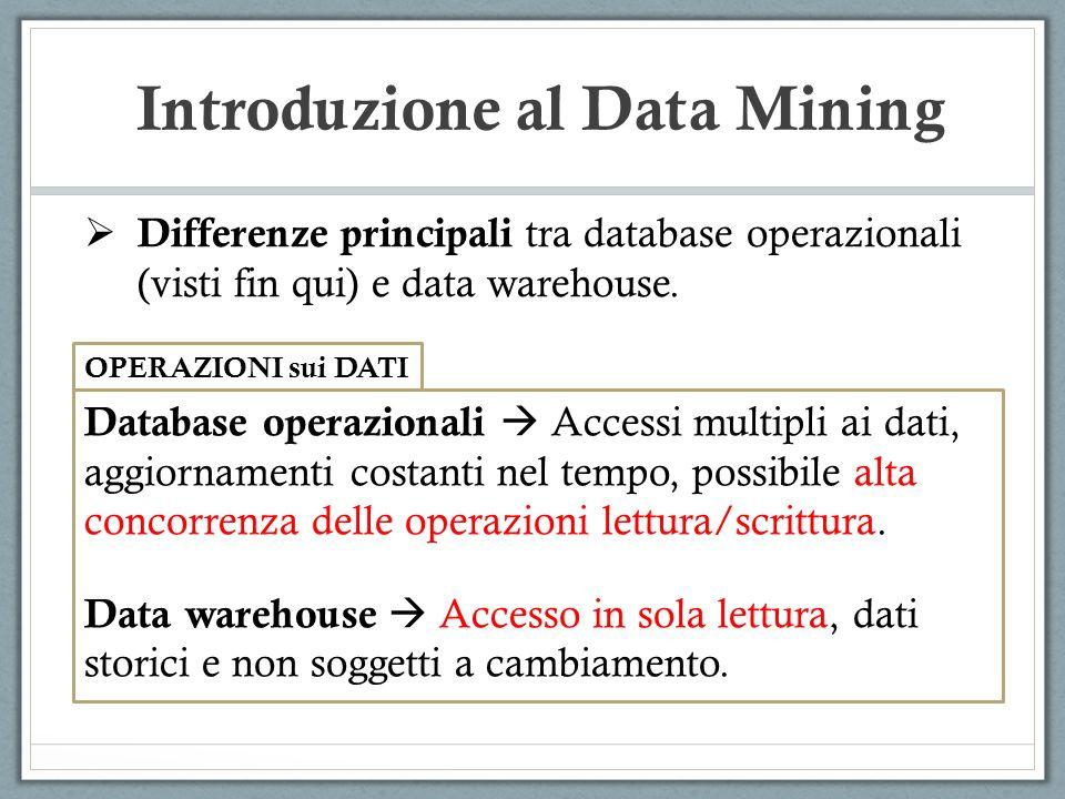 Introduzione al Data Mining Differenze principali tra database operazionali (visti fin qui) e data warehouse. OPERAZIONI sui DATI Database operazional
