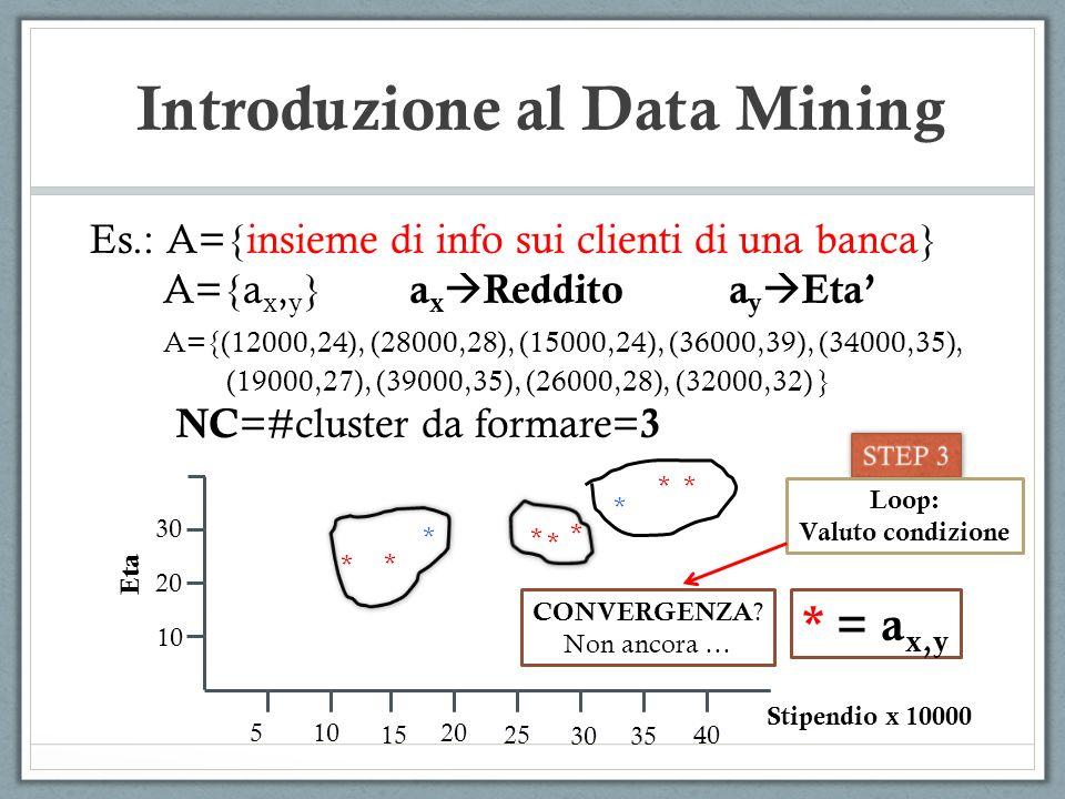 Introduzione al Data Mining Es.: A={insieme di info sui clienti di una banca} A={a x, y } a x Reddito a y Eta A={(12000,24), (28000,28), (15000,24), (