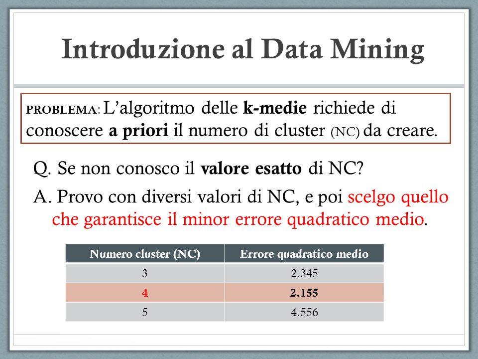 Introduzione al Data Mining PROBLEMA : Lalgoritmo delle k-medie richiede di conoscere a priori il numero di cluster (NC) da creare. Q. Se non conosco