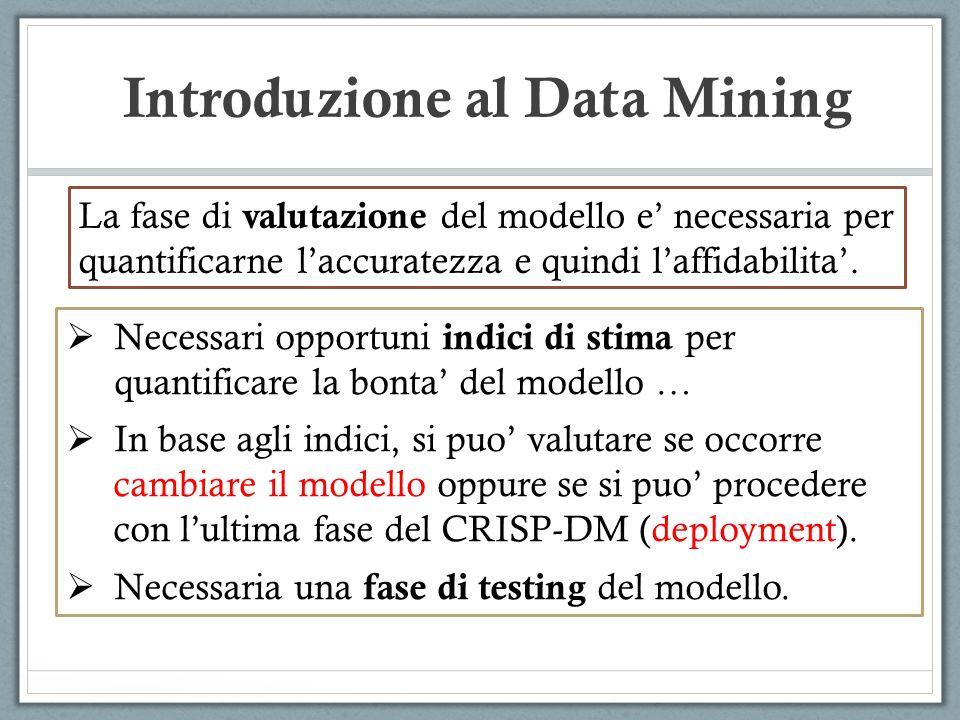 Introduzione al Data Mining La fase di valutazione del modello e necessaria per quantificarne laccuratezza e quindi laffidabilita. Necessari opportuni