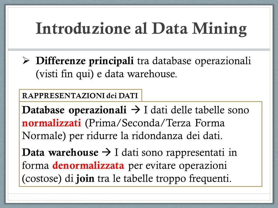 Introduzione al Data Mining Differenze principali tra database operazionali (visti fin qui) e data warehouse. RAPPRESENTAZIONI dei DATI Database opera