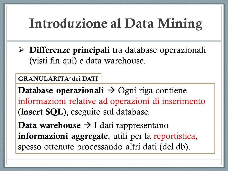 Introduzione al Data Mining Differenze principali tra database operazionali (visti fin qui) e data warehouse. GRANULARITA dei DATI Database operaziona