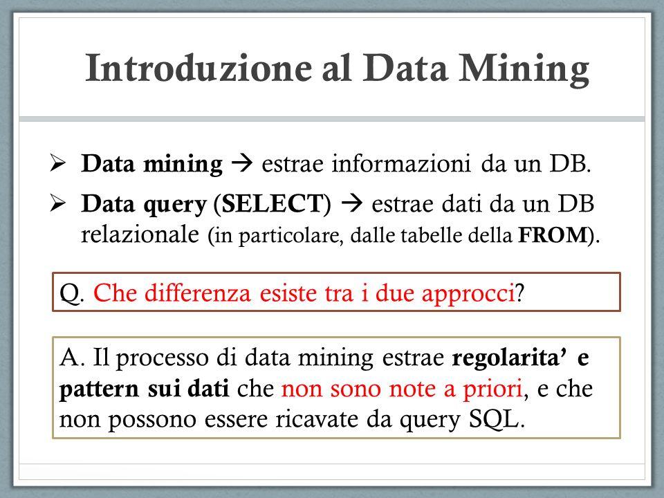 Introduzione al Data Mining Data mining estrae informazioni da un DB. Data query ( SELECT ) estrae dati da un DB relazionale (in particolare, dalle ta