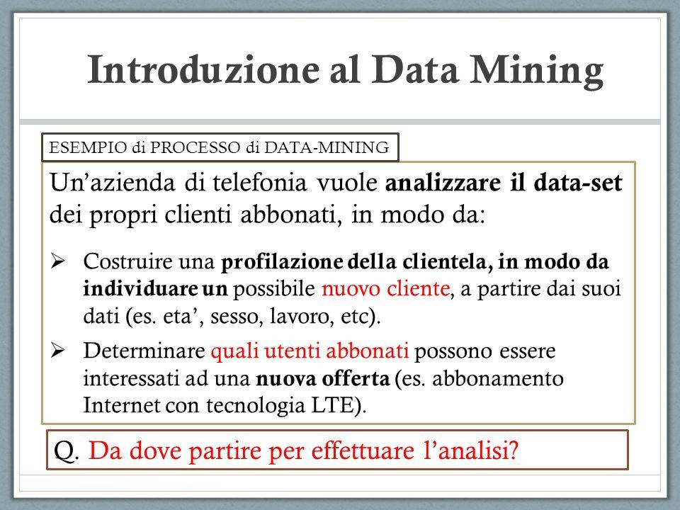 Introduzione al Data Mining Unazienda di telefonia vuole analizzare il data-set dei propri clienti abbonati, in modo da: Costruire una profilazione della clientela, in modo da individuare un possibile nuovo cliente, a partire dai suoi dati (es.