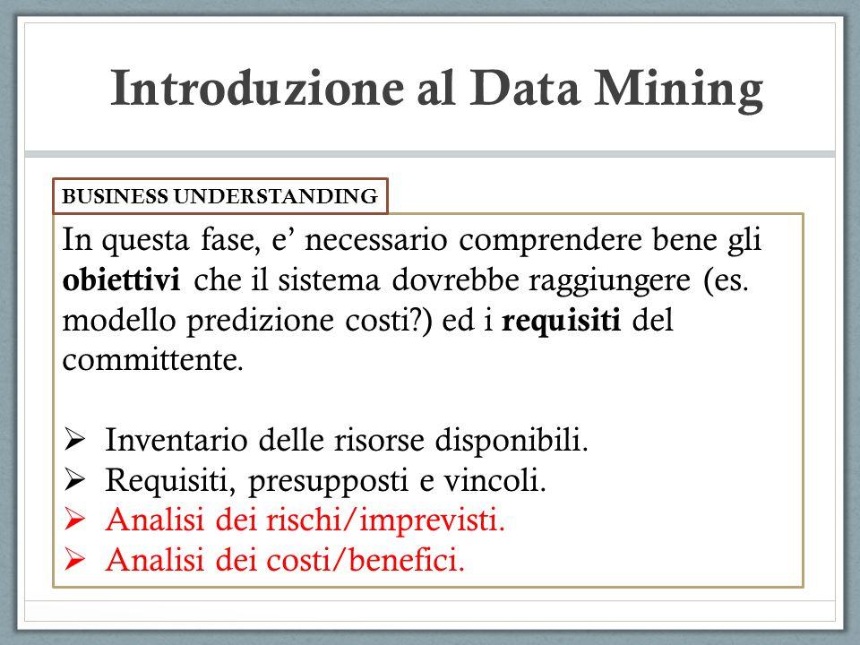Introduzione al Data Mining In questa fase, e necessario comprendere bene gli obiettivi che il sistema dovrebbe raggiungere (es. modello predizione co