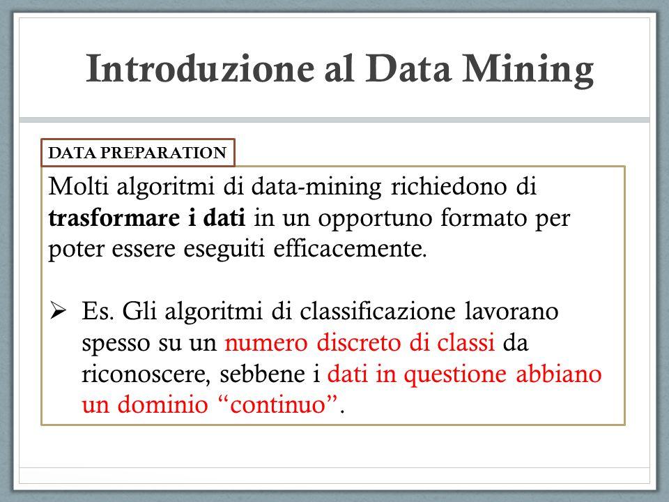 Introduzione al Data Mining Molti algoritmi di data-mining richiedono di trasformare i dati in un opportuno formato per poter essere eseguiti efficacemente.