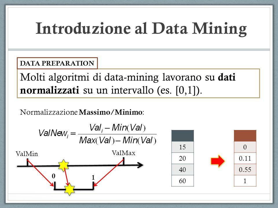 Introduzione al Data Mining Molti algoritmi di data-mining lavorano su dati normalizzati su un intervallo (es. [0,1]). DATA PREPARATION Normalizzazion