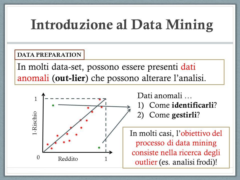 Introduzione al Data Mining In molti data-set, possono essere presenti dati anomali ( out-lier ) che possono alterare lanalisi. DATA PREPARATION Reddi