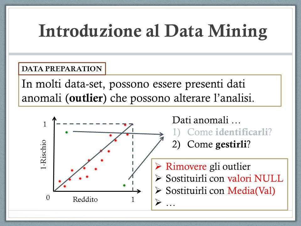 Introduzione al Data Mining In molti data-set, possono essere presenti dati anomali ( outlier ) che possono alterare lanalisi.