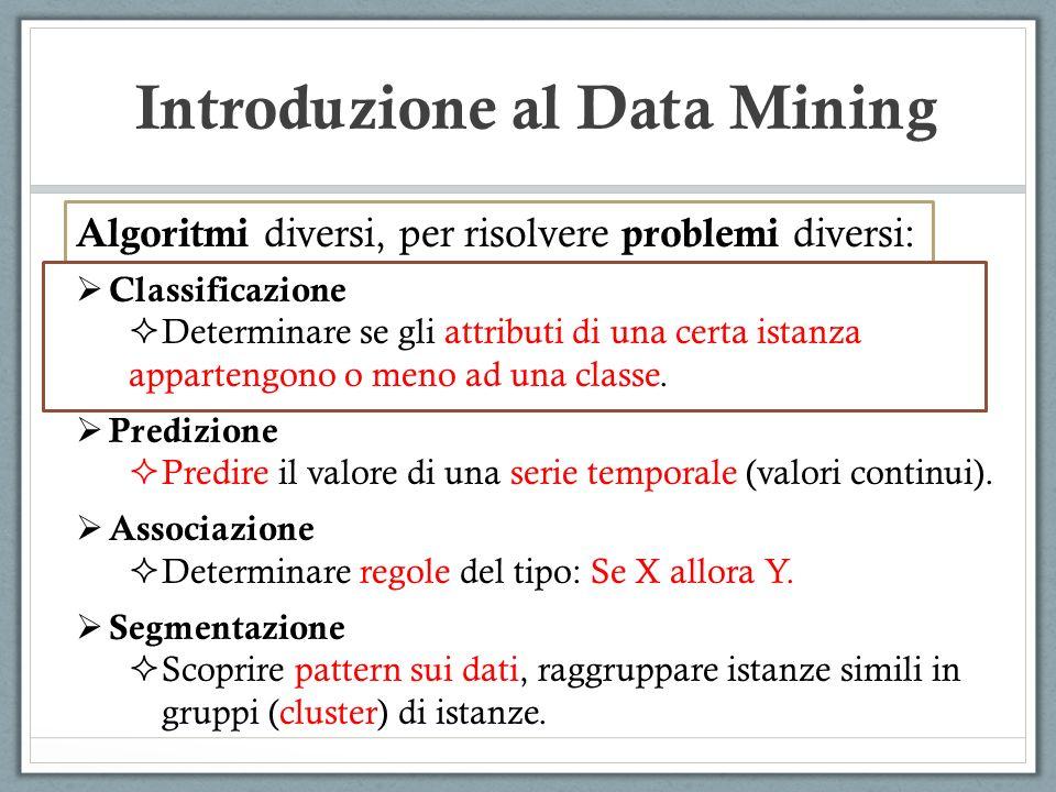Introduzione al Data Mining Algoritmi diversi, per risolvere problemi diversi: Classificazione Determinare se gli attributi di una certa istanza appar
