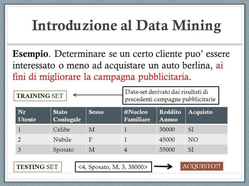 Introduzione al Data Mining Esempio. Determinare se un certo cliente puo essere interessato o meno ad acquistare un auto berlina, ai fini di migliorar