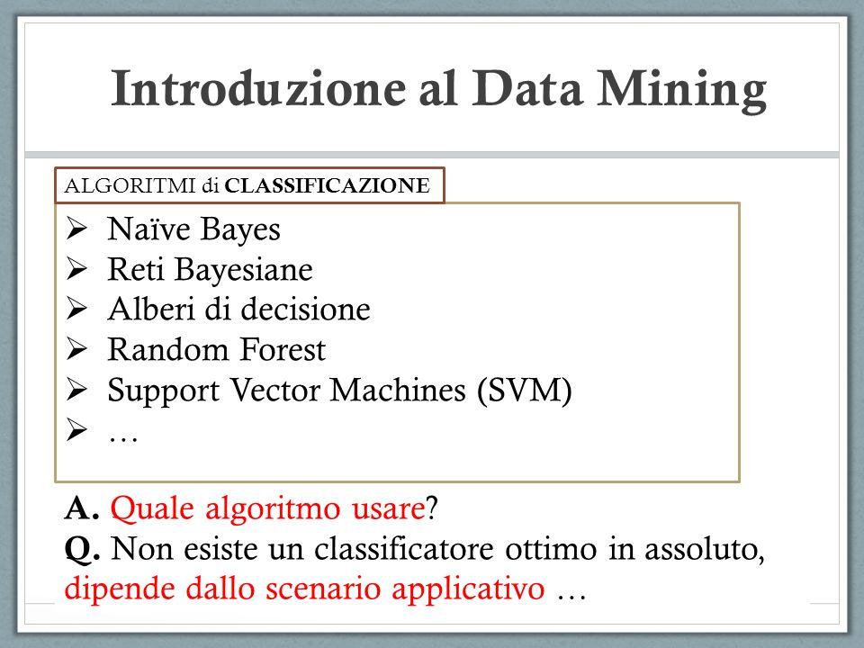 Introduzione al Data Mining A. Quale algoritmo usare? Q. Non esiste un classificatore ottimo in assoluto, dipende dallo scenario applicativo … Naïve B