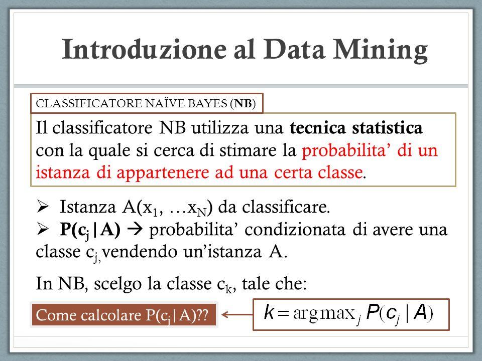 Introduzione al Data Mining Il classificatore NB utilizza una tecnica statistica con la quale si cerca di stimare la probabilita di un istanza di appa