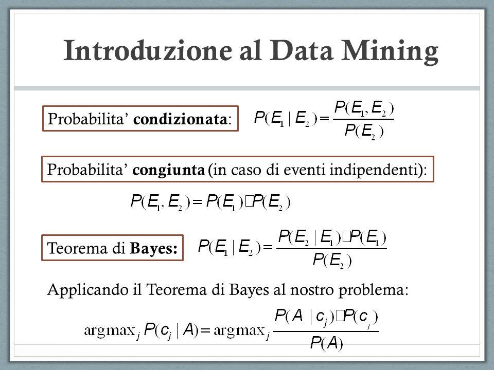 Introduzione al Data Mining Probabilita condizionata : Probabilita congiunta (in caso di eventi indipendenti): Teorema di Bayes: Applicando il Teorema di Bayes al nostro problema: