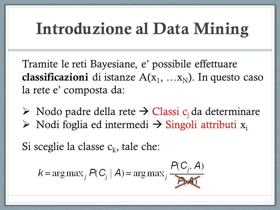 Introduzione al Data Mining Tramite le reti Bayesiane, e possibile effettuare classificazioni di istanze A(x 1, …x N ). In questo caso la rete e compo