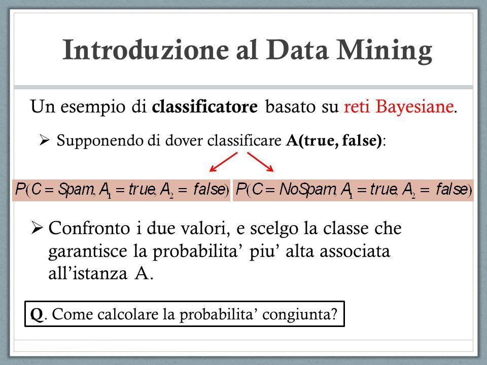 Introduzione al Data Mining Un esempio di classificatore basato su reti Bayesiane. Supponendo di dover classificare A(true, false) : Confronto i due v