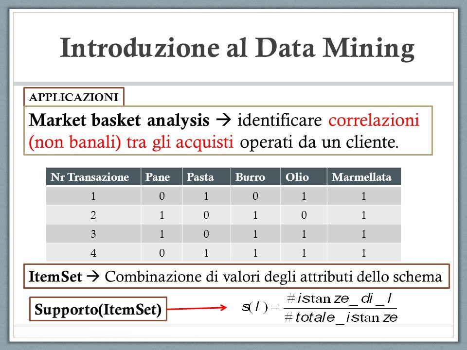 Introduzione al Data Mining APPLICAZIONI Market basket analysis identificare correlazioni (non banali) tra gli acquisti operati da un cliente.