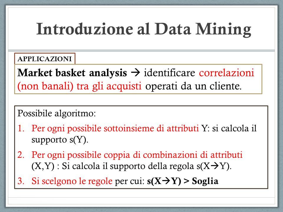 Introduzione al Data Mining APPLICAZIONI Market basket analysis identificare correlazioni (non banali) tra gli acquisti operati da un cliente. Possibi