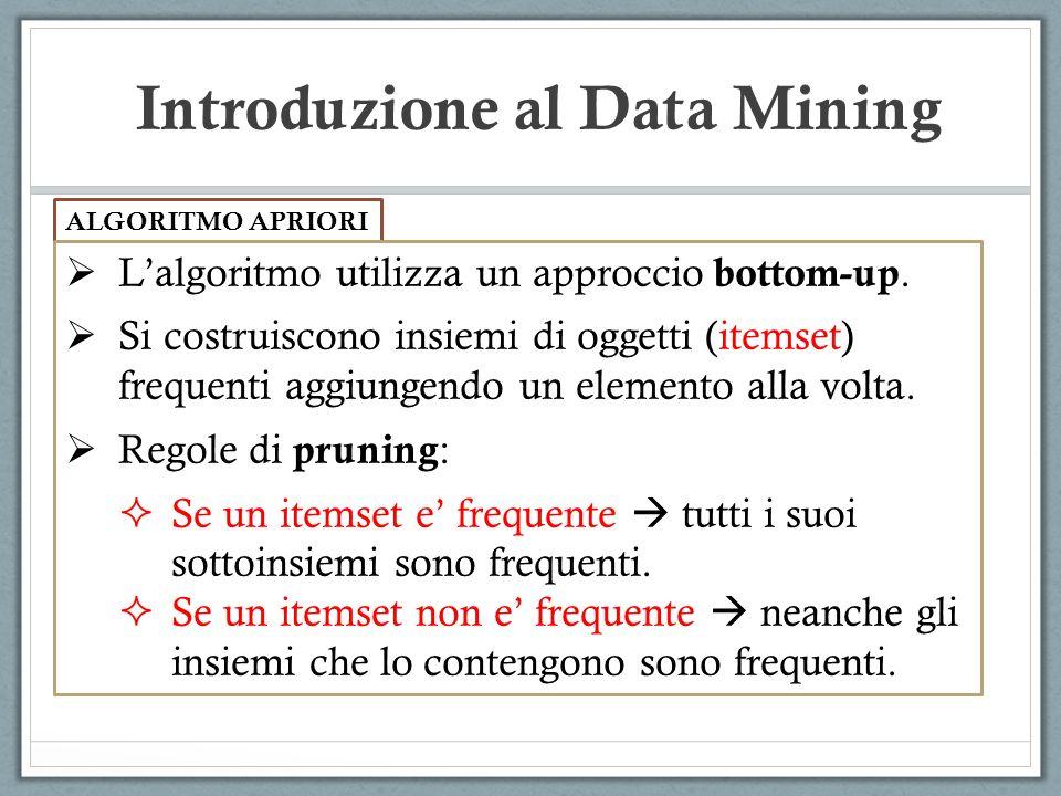 Introduzione al Data Mining ALGORITMO APRIORI Lalgoritmo utilizza un approccio bottom-up.