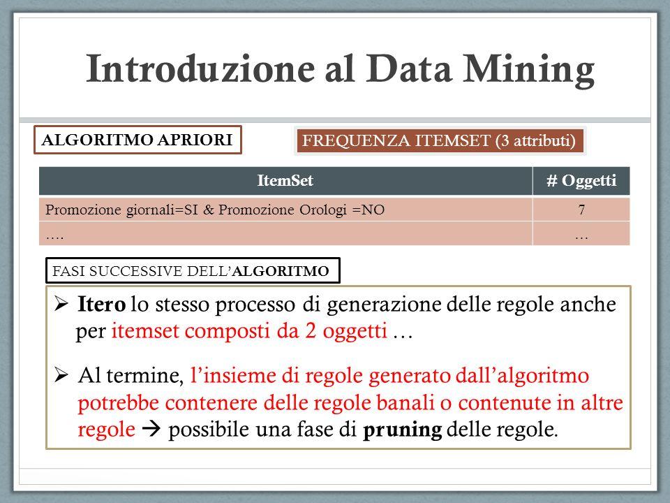 Introduzione al Data Mining ALGORITMO APRIORI FREQUENZA ITEMSET (3 attributi) Itero lo stesso processo di generazione delle regole anche per itemset c